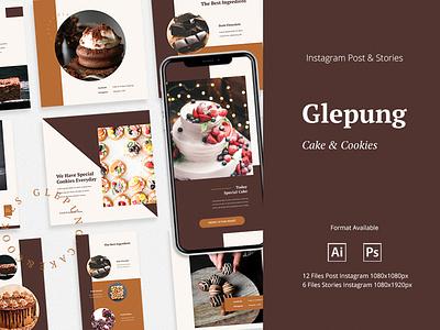 Glepung - Instagram Post & Stories cookies store food banner cake shop instagram banner instagram template instagram stories instagram post instagram