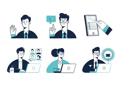Office people illustration man woman office work icons set illustrator illustration design business web face procreate vector art illustration 2d set characters character character design