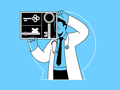 Keyword Difficulty x-ray article illustration keyword doctor ui article marketing character vector illustrator illustration