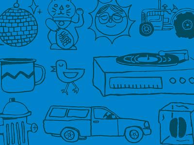 Share Coffee sketches sun disco ball radio bike record player illustration coffee