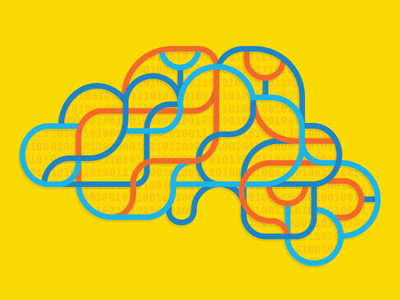 Deep learning computers nodes lines color editorial illustration code binary computer artificial intelligence ai brain