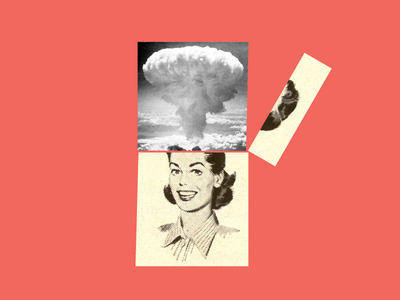 Mindblown 1950s nuke graphic design explosion bomb vintage woman girl cut paper collage book cover