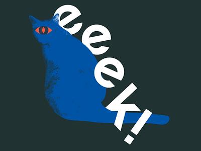eeeeeeeek neta cannabis scary typography cyclopse cat spooky