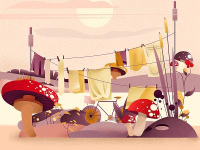 Lovely mushrooms illustrations childrens illustration stippled graphic design graphicdesign design vector stipple minimal illustration