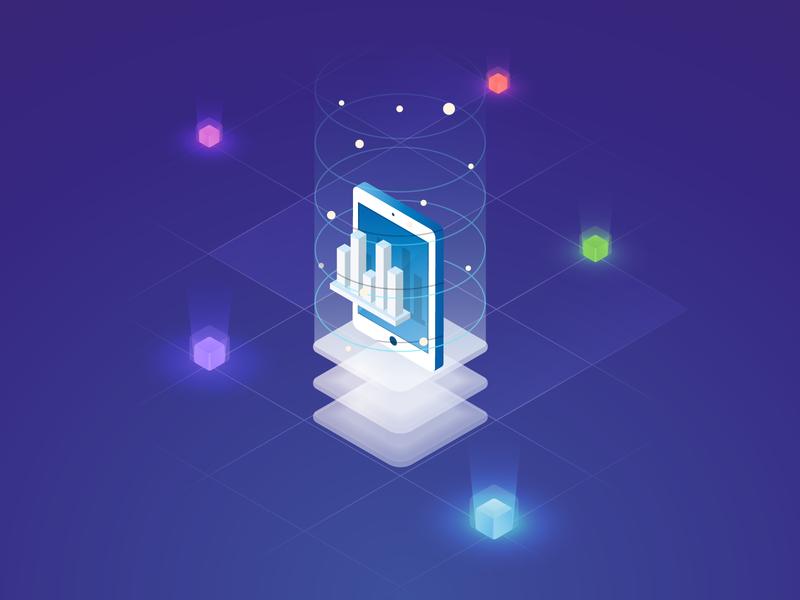 Mobile data icon adobe data icon illustration design ui vector web isometric blockchain oxio website flat minimal mobile 3d illustrator grid identity