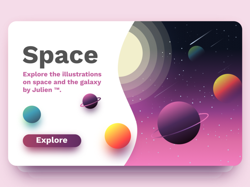 Space card website app planet discover space card julien ui project web illustrator identity vector icon minimal art sketch flat design illustration