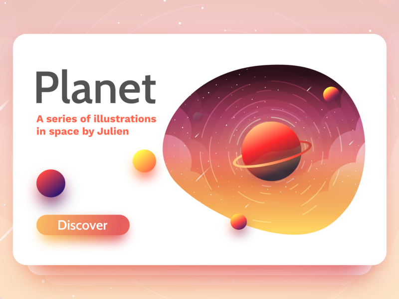 Planet card landscape website branding planet earth space card planet julien project web illustrator identity vector icon minimal art sketch flat design illustration