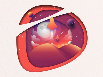 Space exploration clouds rocket landscape website branding icon paper mountains star adobe moon planet illustrator sketch illustration exploration space