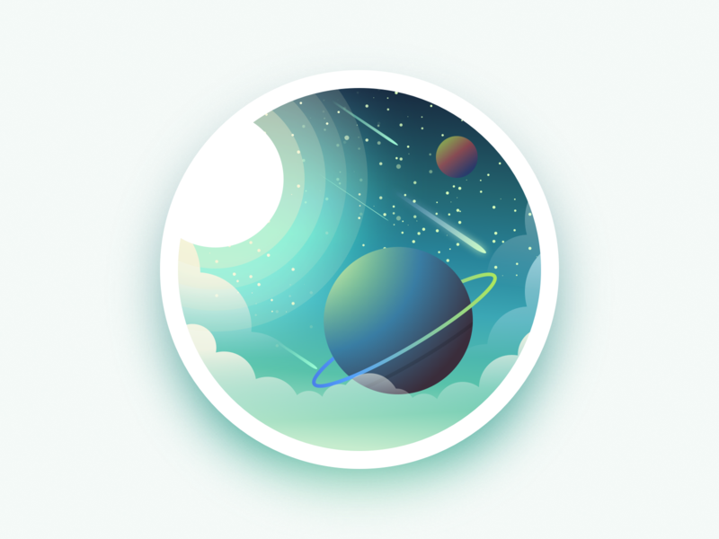 Back to space project landscape design galaxy sun star planet space landscape julien web illustrator identity icon vector minimal art sketch flat design illustration