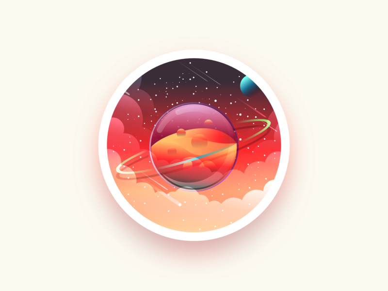 Planet badge colors stars space planet ux ui julien project web illustrator identity icon vector minimal art sketch flat design illustration
