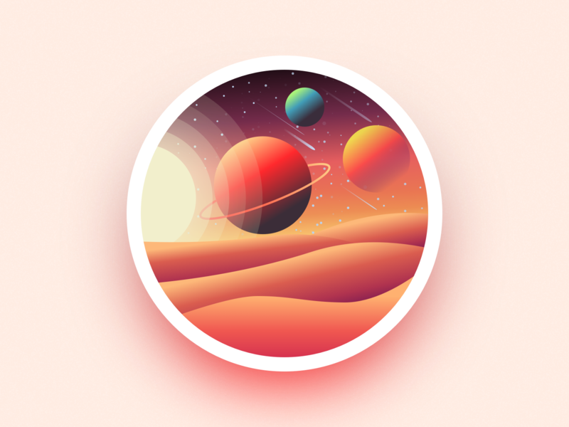 Desert space planet abstract badge desert ux ui julien project web illustrator identity icon vector minimal art sketch flat design illustration
