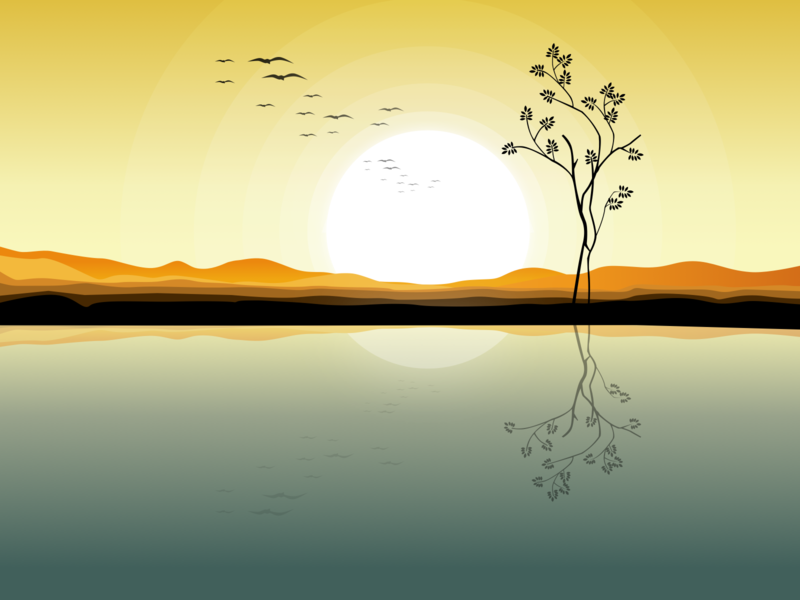 Morning illustration reflection vision lake sun morning adobe ui julien project web illustrator identity icon vector minimal art sketch flat design illustration