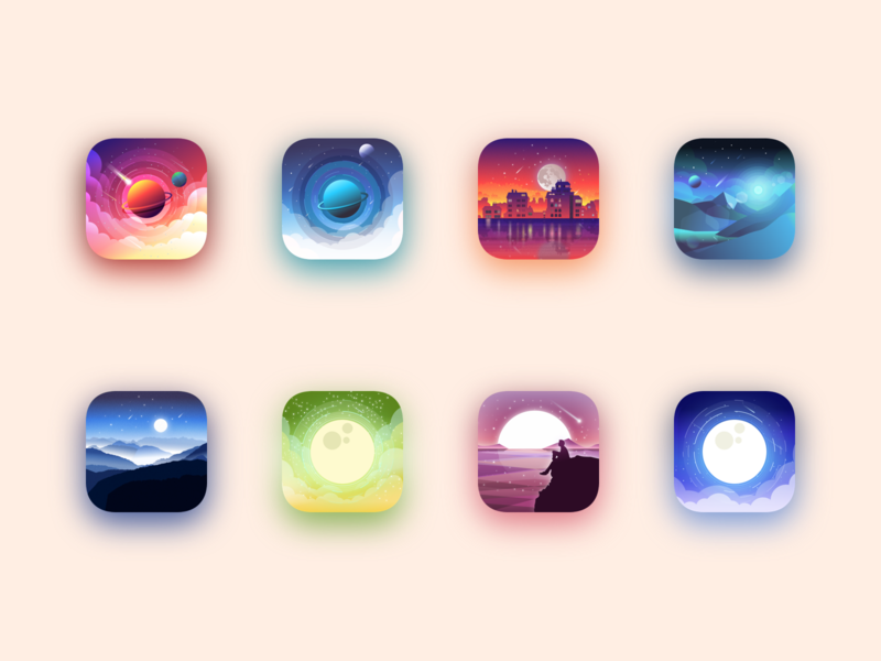 Icons project mountains star planet space landscape ux ui julien project web illustrator identity icon vector minimal art sketch flat design illustration