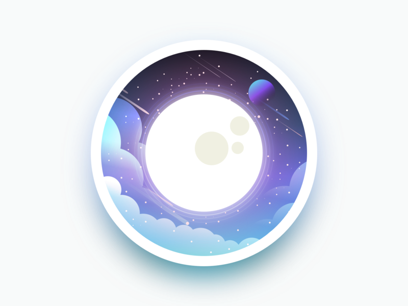 Moon Illustration badge design planet space moon badge adobe ui julien project web illustrator identity icon vector minimal art sketch flat design illustration