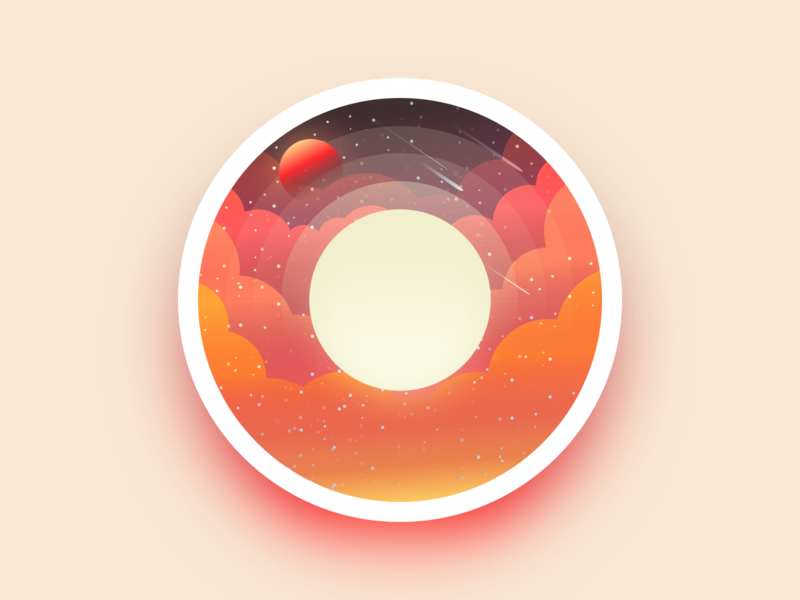 Sun sun moon planet adobe cloud badge space star landscape julien illustrator identity icon vector minimal art sketch flat design illustration