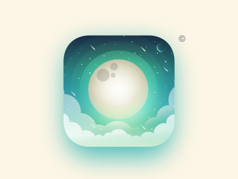 to the Moon🚀 icons apple snooze application gradients green planet landscape ios ico identity illustrator julien vector minimal art sketch flat design illustration