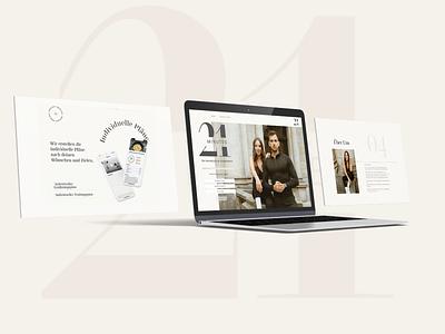 21 Minutes coaching web design soft beige typography branding design web