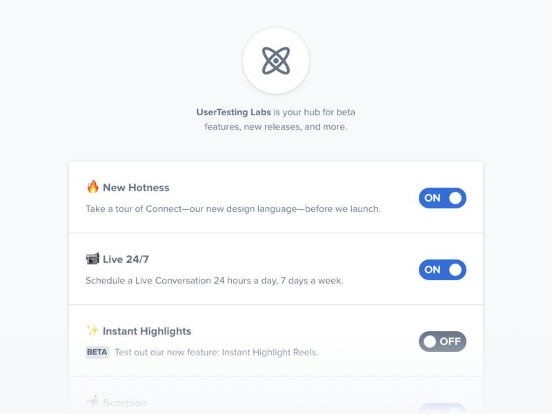 UserTesting Labs icon toggle switch ui