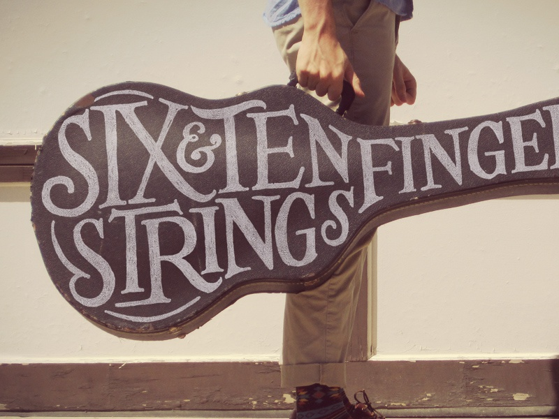 Six Strings, Ten Fingers guitar lettering ampersand typography hand lettering vintage alessio