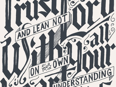Trust typography lettering blackletter hand lettering alessio bible scripture verse ornate vintage texture