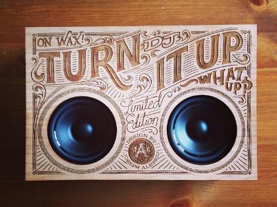 Wooden Boombox wood engraved laser engraved radio vintage typography detail lettering script swash interrobang