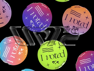 Vote! 3d modern type america sticker brutalism texture design lettering typography