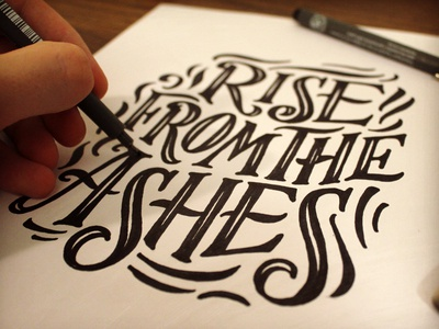 Rise lettering typography hand lettered flourish swash inline type vintage pen