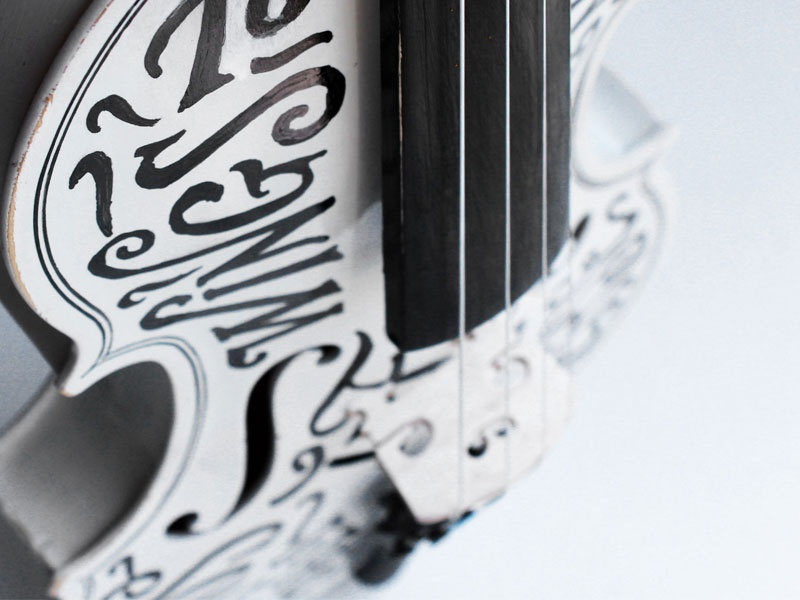 TypeLimited violin type lettering swash script typography hand lettering hand painted