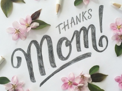 Mother's Day hand lettering typography mom pink mixed media swash script floral flowers lettering type