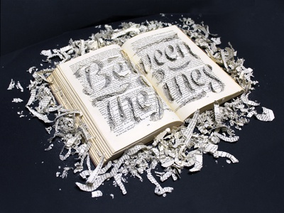 Between The Lines [World Book Day] script swash monochrome illustration design books papercraft craft hand lettering typography lettering type