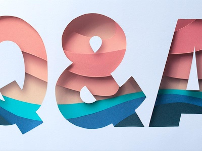 Q&A ampersand layers papercraft craft tactile dimensional type dimensional paper lettering typography type