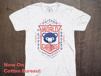 Fly the W, Buy the T chicago sports badge tee shirt vintage lockup lettering typography champions baseball cubs