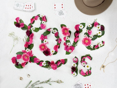 Love Is... flowers dimensional tactile lettering script typography floral love valentines