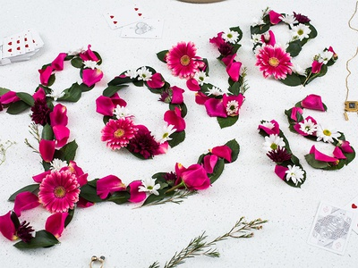 Love Is... love script type tactile lettering typography flowers floral dimensional