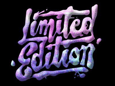 Limited Edition dimensional psychedelic blobby ink bubble texture typography lettering
