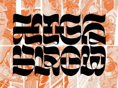 Highbrow / Lowbrow swash marble halftone collage typography reverse contrast lettering calligraphy blackletter
