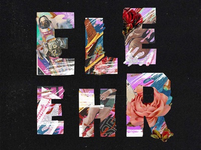 Collage Type vintage magazines type floral nike basketball texture halftone lettering typography collage