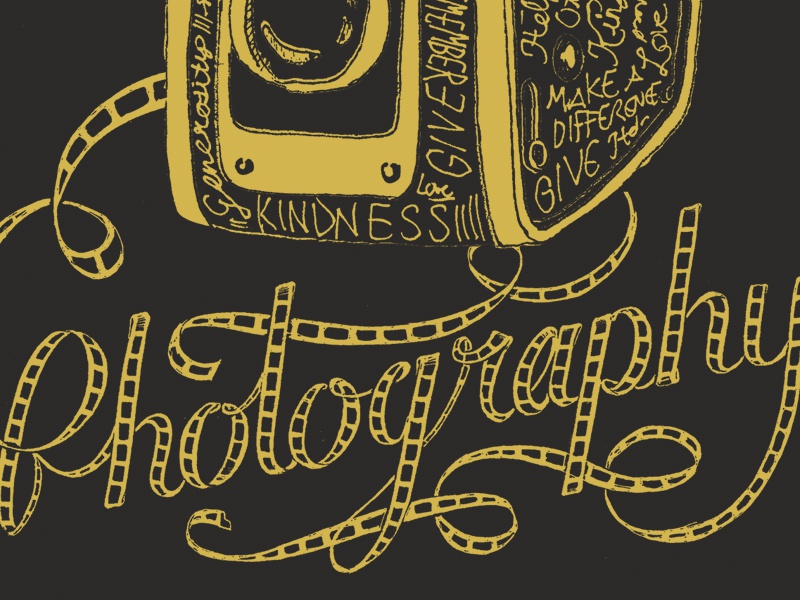 Give Photography script lettering illustration apparel hand lettering hand drawn