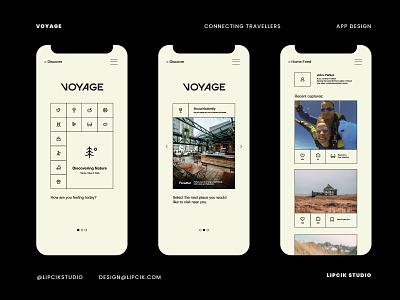Voyage App graphic design icons adventure travel application app design ux branding ui logo digital beautiful minimal design simple