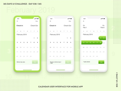 365 DAYS UI CHALLENGE - DAY 038 / 365 - Calendar
