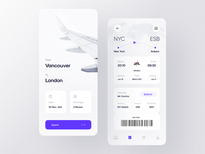 Flight Ticket Booking App | Part 1 design minimal ui ux reception bill airline location sell buy fly ticket airplanes airport aircraft airplane