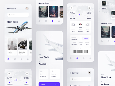Flight Ticket Booking App | Part 3 illustration design airport branding logo airplanes ui aircraft