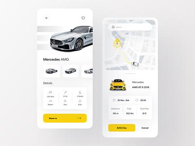 Car Rental App | Part 2 book booking choose car rent a car rent bmw mercedes lamborghini concept ui ux gradient search graphic speed map green ios cards car rental car app
