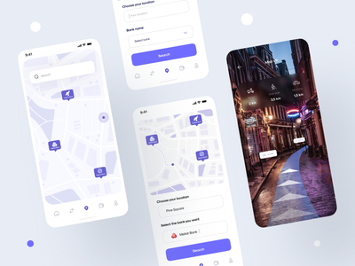 100 Application - Search for places public transport location subway route progress taxi colorful navigation car city transport routes map cards minimal ux ios interface app ui