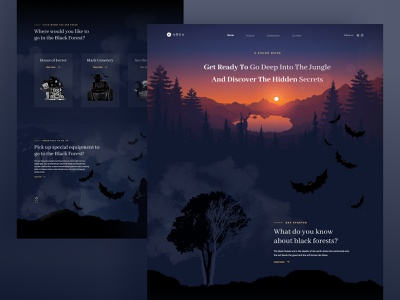 Nature Discovery animation motion graphics graphic design explore discover trend mac dark mode landing page website dark uiux ux halloween ui horror jungle travel discovery nature