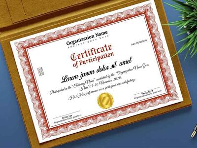 Certificate of Participation Template graphic design design personal creative company certifciate parcipation certificate