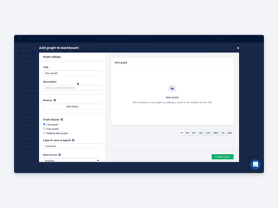 Graph Builder: Creating a Graph dashboad monitoring dashboard builder graph monitoring application web ux user interface ui user experience front-end development design app