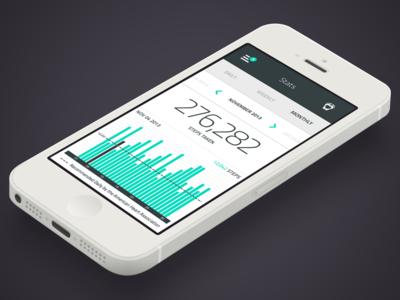 Pedometer App app design uiux pedometer ios7 interface turquoise health app flat