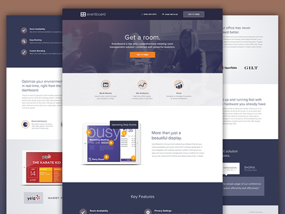 Eventboard Landing Page ipad room conference full screen animation web design website ux ui layout landing page homepage