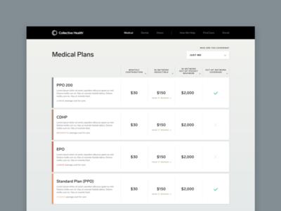 Open Enrollment comparison clean website healthcare product design product